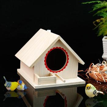 Bird Pet Nest Wooden Birdhouse Small Outdoor Garden Parrot Bird Nest Wooden Bird House Bird Cage Pet Supplies 4