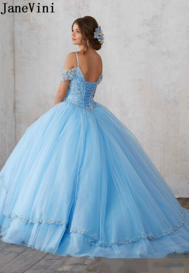 JaneVini Blue Quinceanera Dresses 2020 Luxury Crystal Beaded Sweet 16 Dresses Fluffy Tulle Tiered Skirt Beading Prom Ball Gown