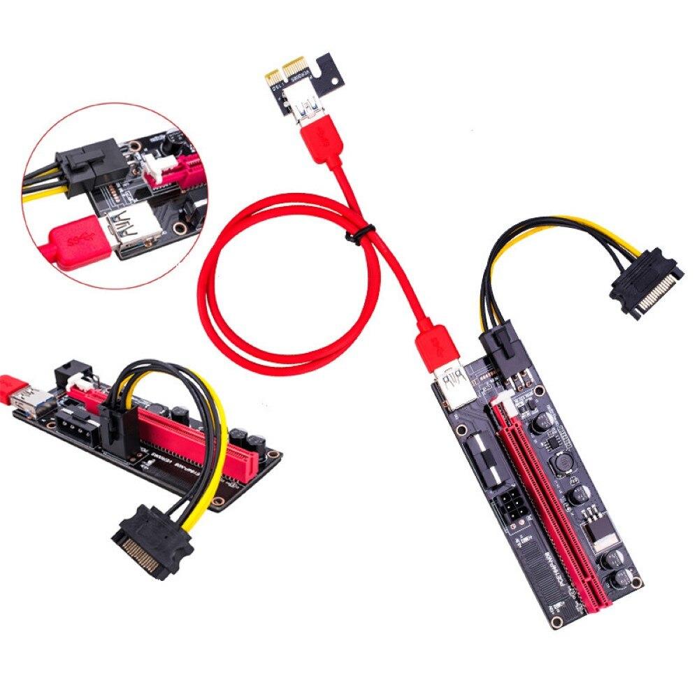 New PCI-E pcie Riser 009 Express 1X to 16x Extender PCI E USB Riser 009S Dual 6Pin Adapter Card SATA 15pin for BTC Miner-5
