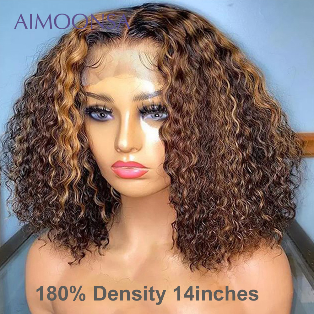 Highlight Lace Front Human Hair Wigs 4x4 Lace Closure Wig 150 Density Wig Ombre Bob Wig Mongolian Kinky Curly Natural Hairline