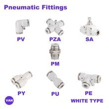Beyaz ücretsiz kargo pnömatik uydurma tüp konektörü bağlantı parçaları hava hızlı su boru itme hortum hızlı bağlantı PU PY PE PV SA PM