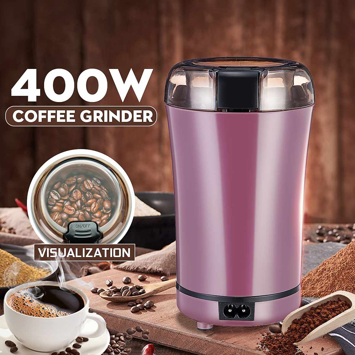 400W Electric Coffee Grinder Espresso Mill Kitchen Salt Pepper Grinder Beans Spices Nuts Seed Coffee Grinding Crocus Machine