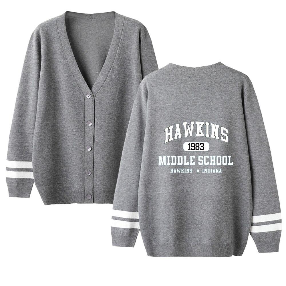 Harajuku Casual Stranger Things V-neck Cardigan Sweater Men/women Sweater Stranger Things Black Kpop Tops