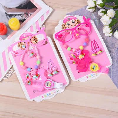 Kinder Gemengde Sieraden Set Meisje Roze dier roze kat Parels Halskette Baby Armband KT Ring Ohrringe Kinderen Party