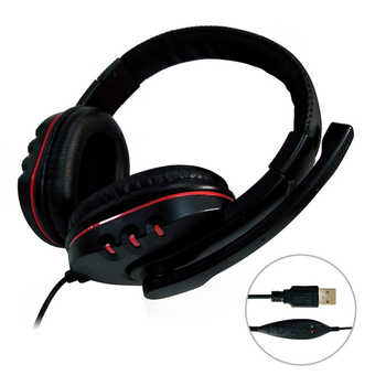 Universal USB Wired Gaming Earphone Adjustable Volume Control Headphone Stereo Sound Noise Canceling Headset with Microphone