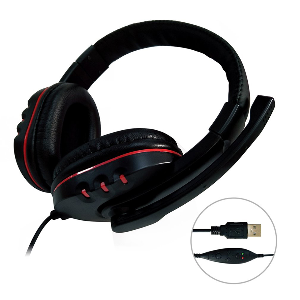 Universal USB Wired <font><b>Gaming</b></font> <font><b>Earphone</b></font> Adjustable Volume Control Headphone Stereo Sound Noise Canceling Headset <font><b>with</b></font> <font><b>Microphone</b></font> image