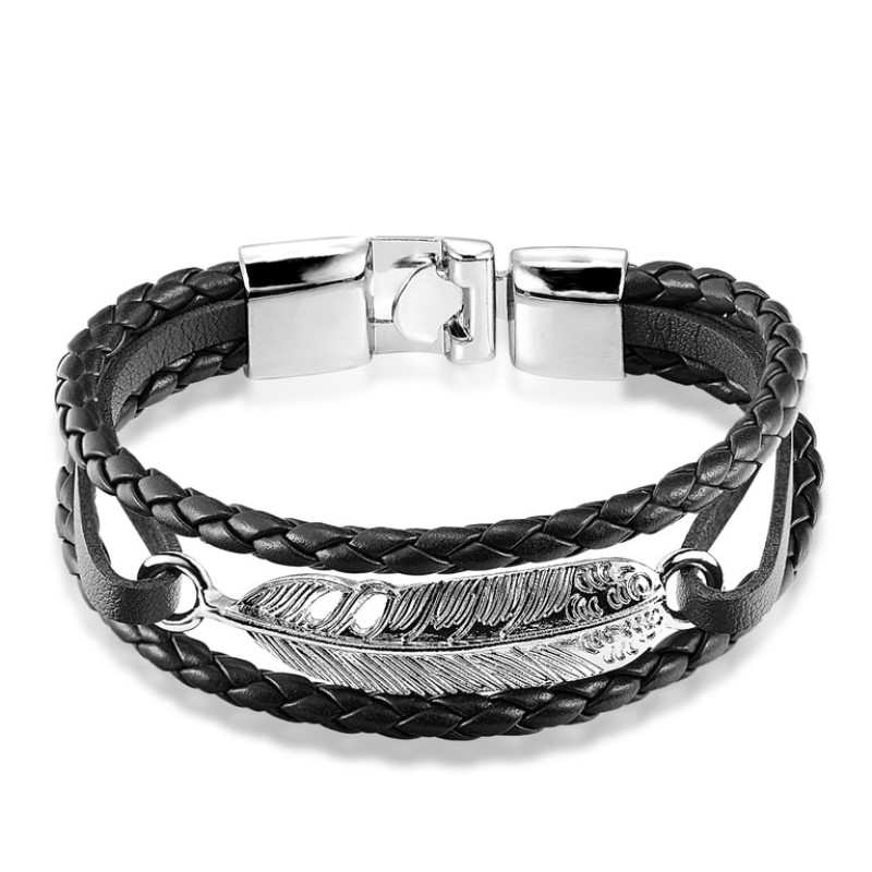 Vintage Feather Multilayer Leather Bracelet Men Fashion Braided Handmade Star Rope Wrap Bracelets & Bangles Male Gift Pulseira