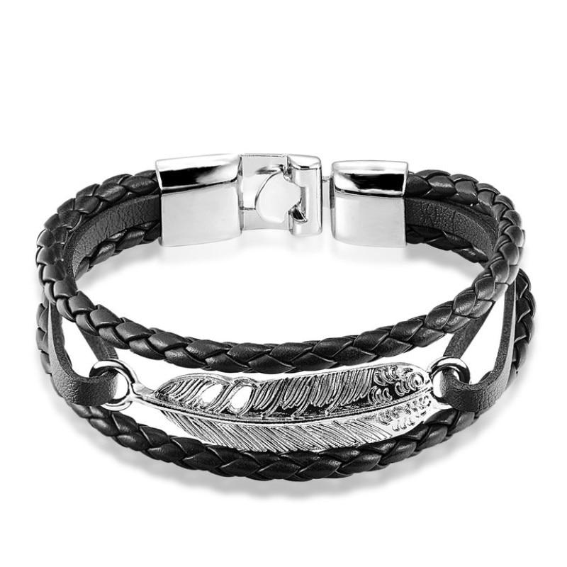 Vintage Feather Multilayer Leather Bracelet Men Fashion Braided Handmade Star Rope Wrap Bracelets & Bangles Male Gift Pulseira