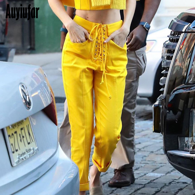 Auyiufar Solid Streetwear Pants For Women High Waist Lace Up Casual Long Pants 2019 Fashion Yellow Female 39 s Straight Trousers in Jeans from Women 39 s Clothing