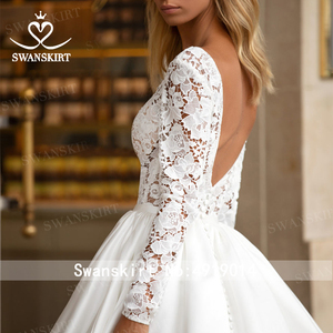 Image 5 - SWANSKIRT בציר תחרה חתונה שמלת 2020 צווארון V ארוך שרוול אונליין רכבת נסיכה מותאם אישית כלה שמלת Vestido דה novia I322