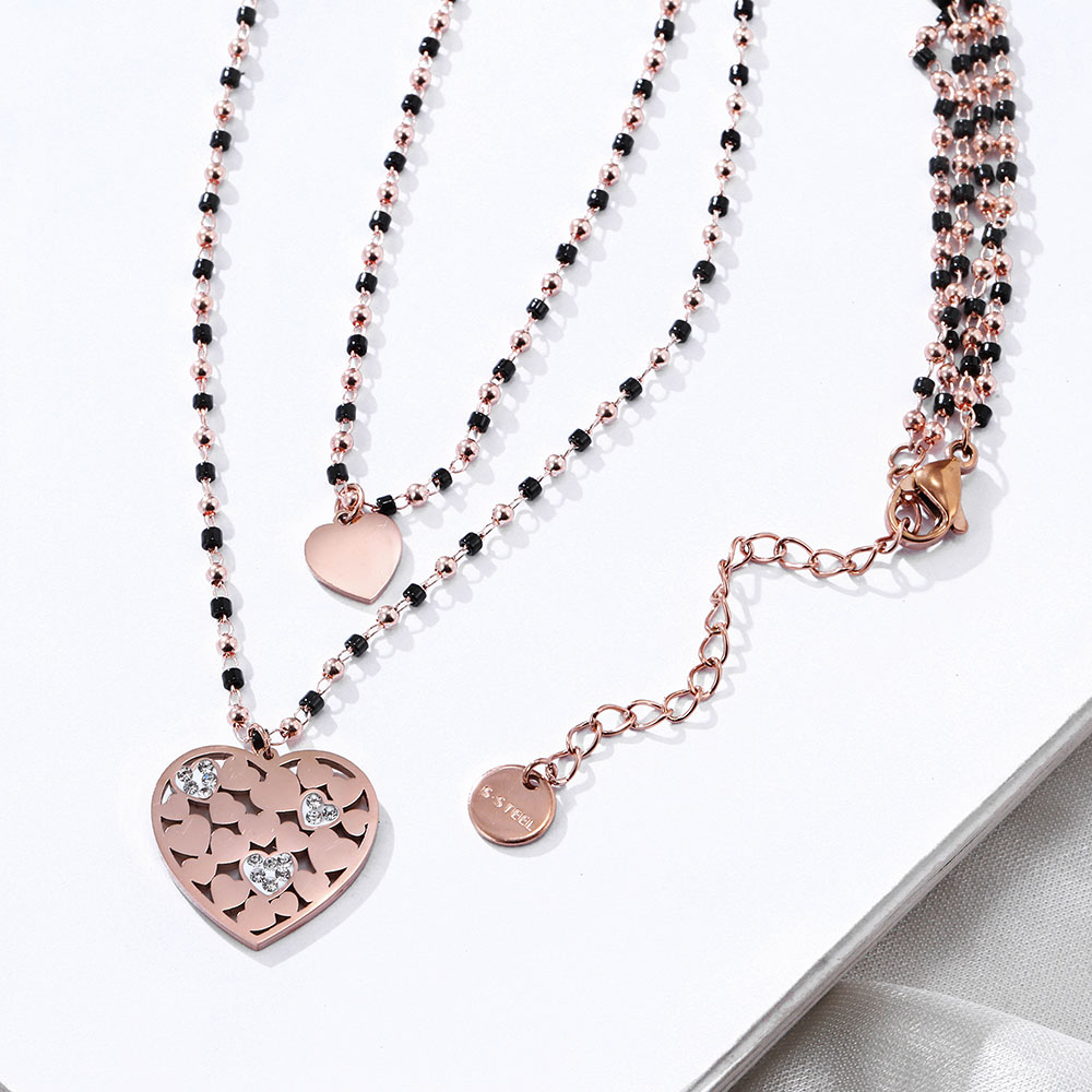 Double Layer Black Crystal Beads Stainless Steel Necklace For Women Star Heart Moon Devil's Eye Choker Summer Necklace wholesale