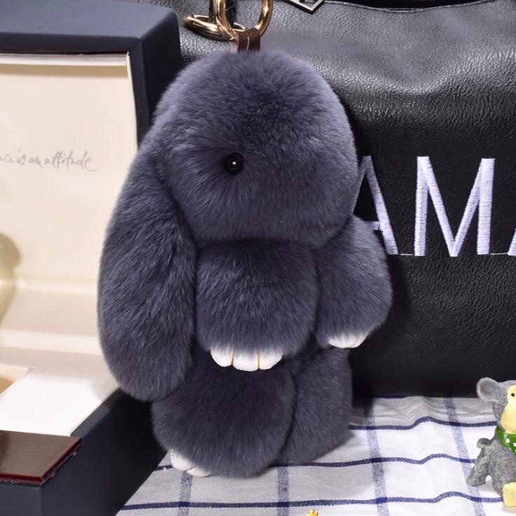 14cm Cute Pluff Bunny Keychain Rex Genuine Rabbit Fur Key Chains For Women Bag Toys Doll Fluffy Pom Pom Lovely Pompom Keyring 1