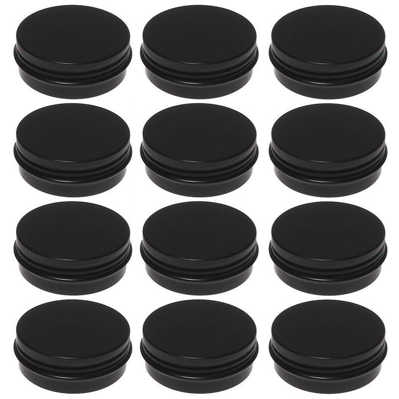 12Pcs 1Oz Black Aluminum Tin Jars Round Screw Lid Containers Empty Metal Storage Cans For Organizing Cosmetic Small Jewelry Orna