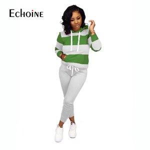 Image 3 - איכות פס אימונית נשים שתי חתיכה מועדון תלבושות סט 2019 ארוך שרוול סלעית סקסי סווטשירט עם כיס מכנסיים 2 חתיכה סט