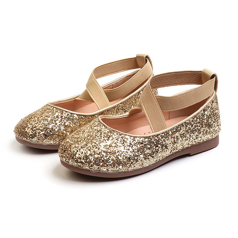 Spring Summer Autumn Infant Baby Kids Girls PU Princess Fashion Comfortable Sequin Design Ballet Flat Shoes For Wedding Party