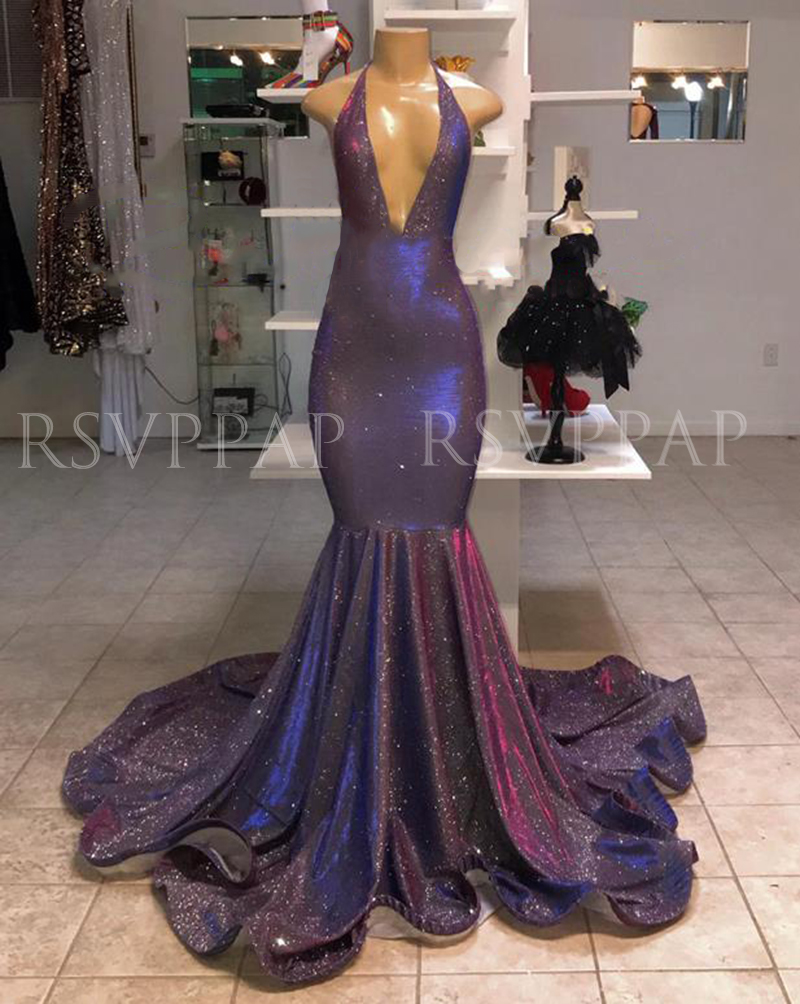 Sexy Deep V-neck African Black Girl Mermaid Elegant Long Prom Dresses 2020