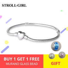 StrollGirl Luxury 100% 925 Sterling Silver Heart Snake Chain DIY Charms Genuine Bracelet Women Fashion Jewelry Making For Gifts