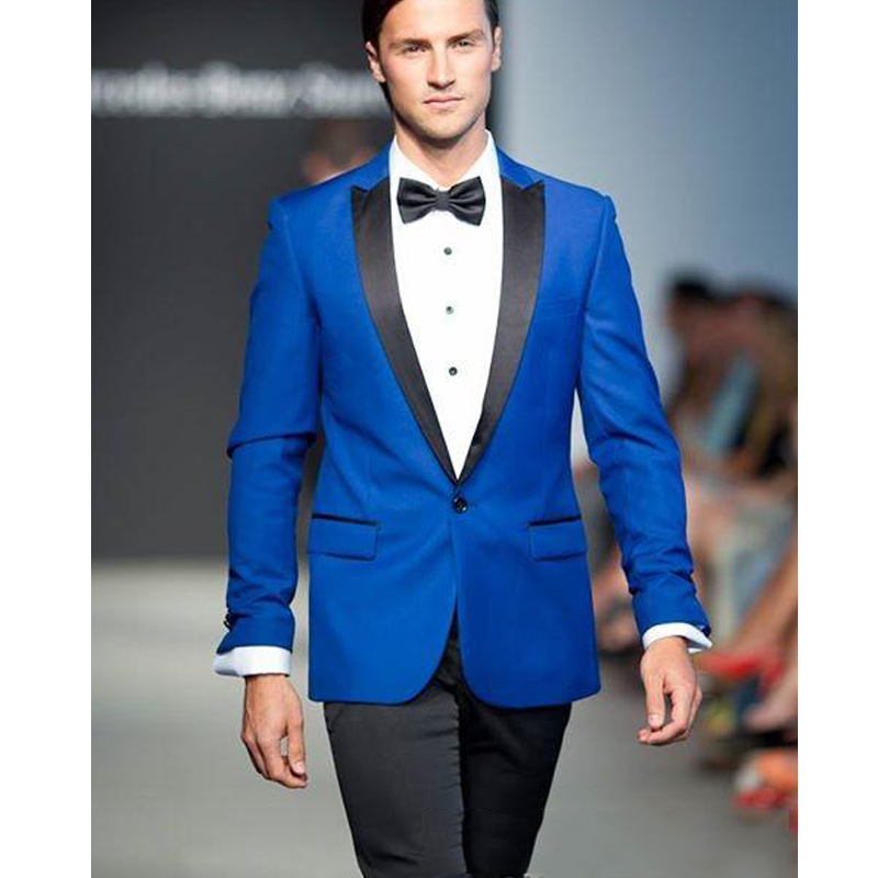 Fashion Royal Blue Tuxedo 2 Pieces Slim Fit Suit Men's Suits Trajes Hombre Formal Groom Suits Custom Wedding Suits Jacket+Pants