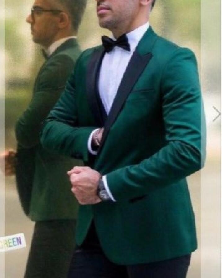 2 Piece Green Slim Fit Men Suits For Prom With Peaked Lapel Latest Style Wedding Groom Tuxedos Jacket Pants Man Set Suit
