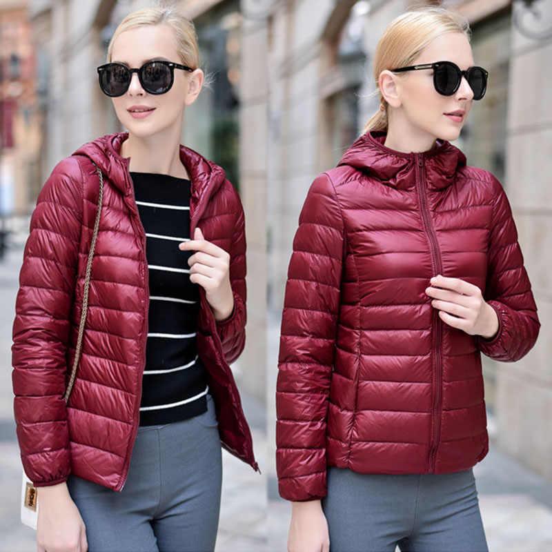 ผู้หญิงฤดูหนาว ULTRA LIGHT ลงเสื้อสีขาวเป็ดลง Hooded เสื้อแขนยาว WARM Coat Parka หญิง Solid แบบพกพา Outwear