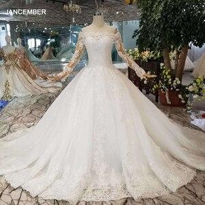 Image 1 - HTL108 בוהמי חתונת שמלת כמו לבן כבוי כתף סירת צוואר ארוך טול אפליקציות שרוולים розовое платье