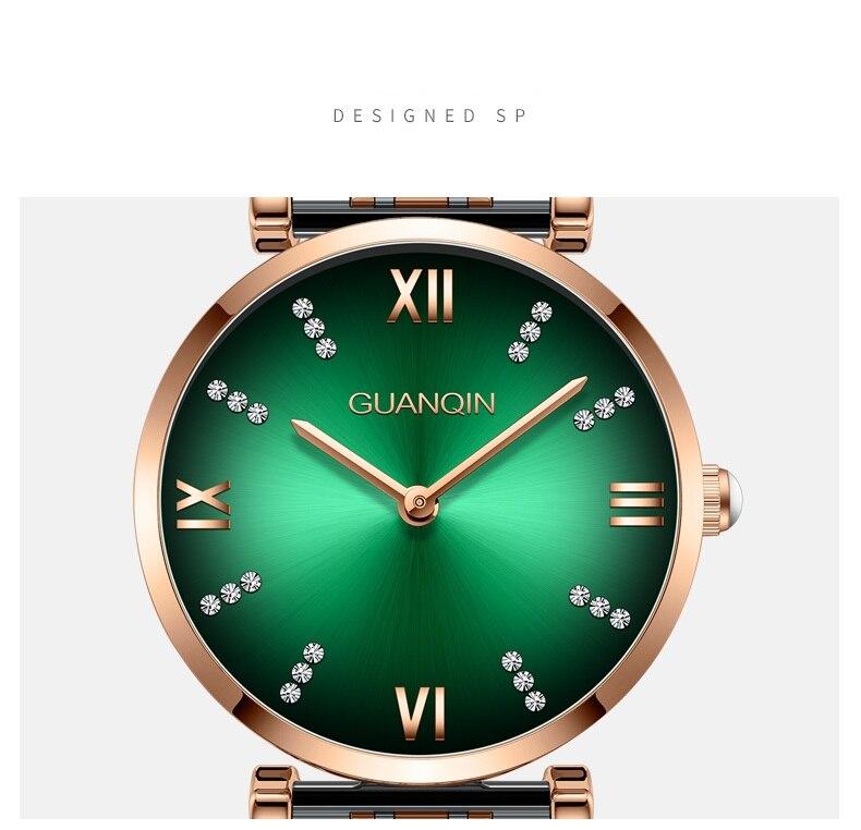 Woman Watch 2019 GUANQIN GS19122 Quartz Luxury Brand Ladies Watch Green Waterproof Simple Fashion Wrist Watch Tool Dropshipping (15)