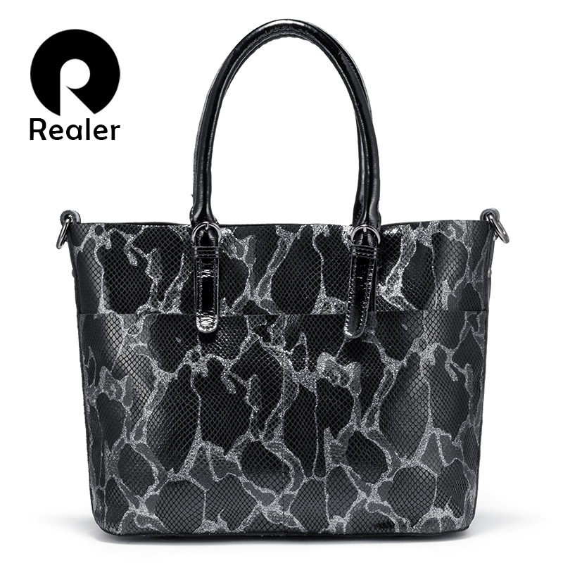 REALER Shoulder Bags For Women Genuine Leather 2019 Luxury Handbag Designer Large Hobos Bag With Tassel Animal Prints Women Bag