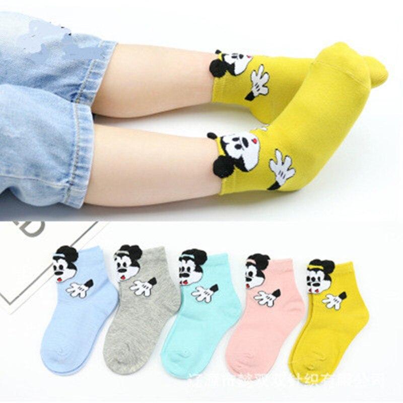 5 PCS Winter Kids Socks Mickey Socks Spiderman Fashion Cartoon Cotton Socks Baby Boys And Girls Designer Casual Sock For 1-15Y