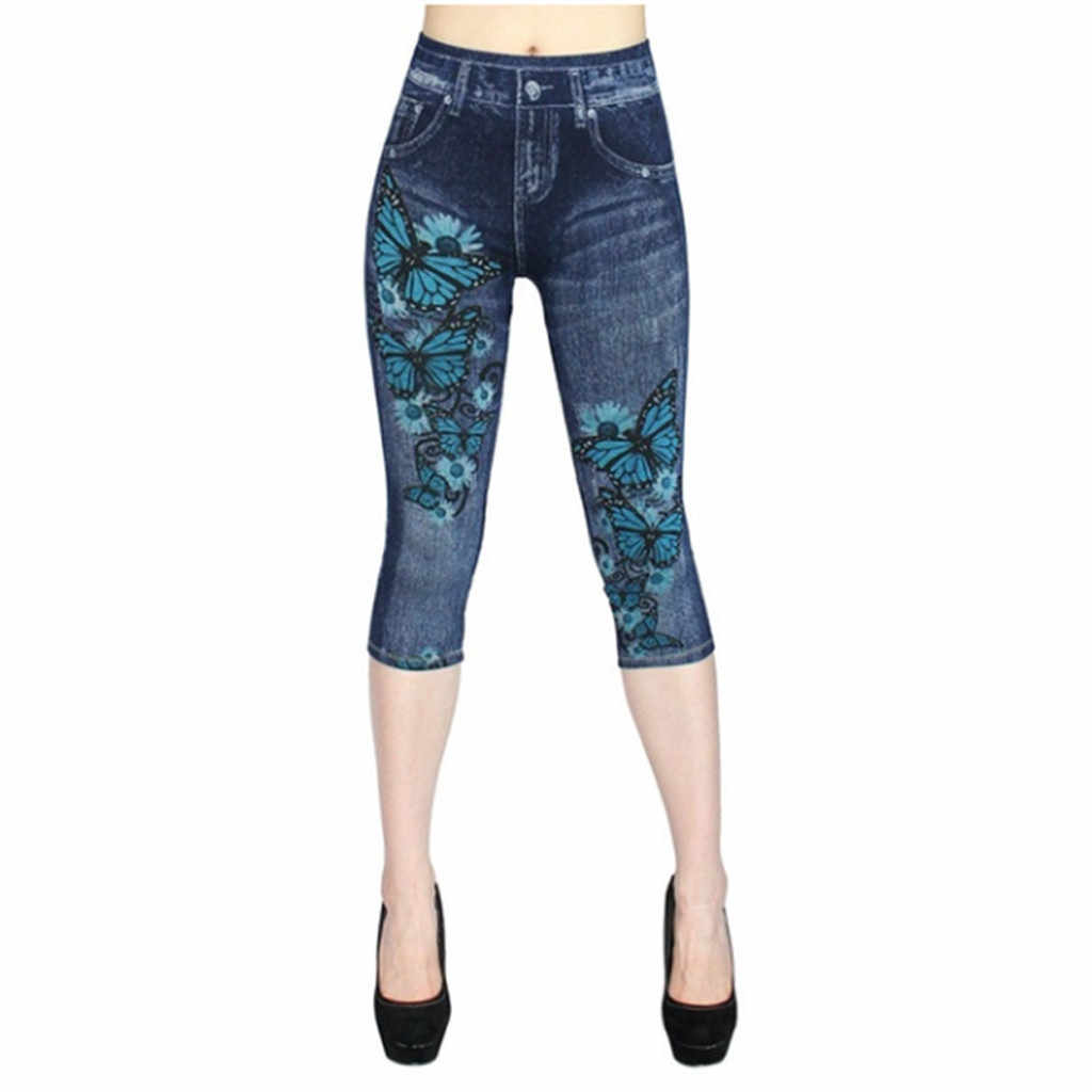JAYCOSIN/женские джинсовые штаны с вырезами и высокой талией, эластичные брюки с принтом, облегающие брюки, женские джинсы 729 #2