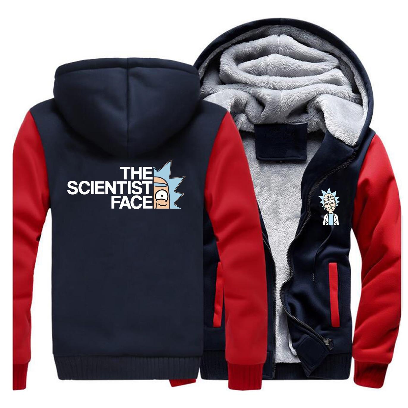 Winter Men Thick Warm Fleece Jacket Rick And Morty Anime The Scientist Face Coat Sweatshirt Raglan Hoodies Jackets Outwear Coats