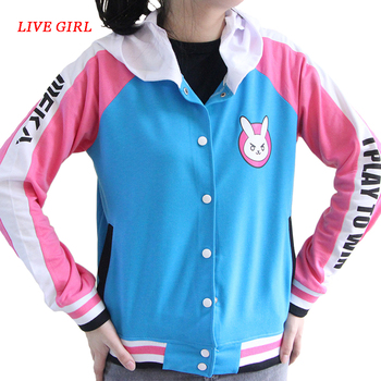 Anime Clothes Game DVa Hoodie Cosplay Costume D.Va Adult Baseball Coat D.Va Jacket feminino Cosplay thin Hoodies for Men Women 1