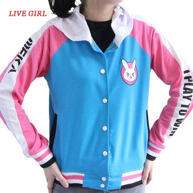 Anime Clothes Game DVa Hoodie Cosplay Costume D.Va Adult Baseball Coat D.Va Jacket feminino Cosplay thin Hoodies for Men Women 1