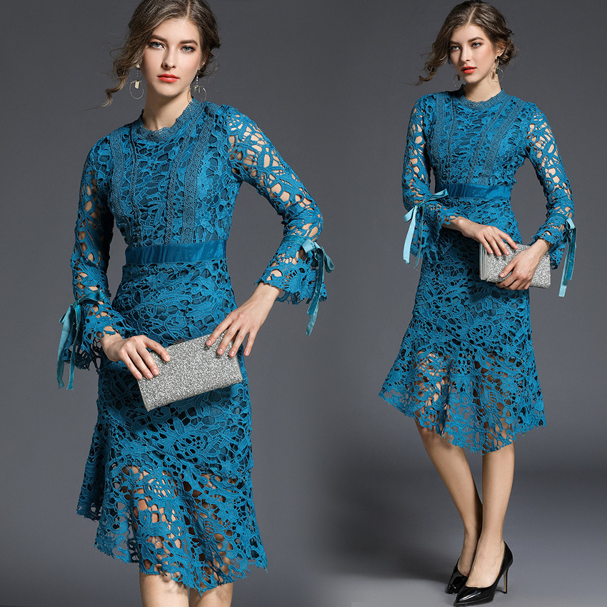 BacklakeGirls Ever Pretty Lake Blue Scoop Neck Full Sleeve Knee Length Hollow Out Lace Cocktail Dress Suknie Wizytowe Plus Size