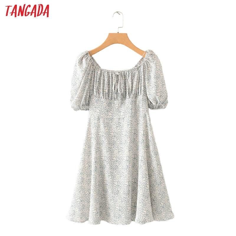 Tangada Women Floral Print Beach Dress Short Sleeve 2020 Summer Females 70s Mini Dresses Vestidos 2M79