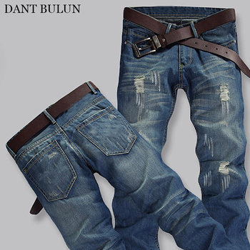 Mens Vintage Blue Washed Jeans Ripped With Hole Skinny Fit Distressed Pencil Pants Fashion Denim Jean Casual Trousers Male mcckle mens ripped skinny jean trousers streetwear pleated black distressed biker jeans pants male fashion denim joggers
