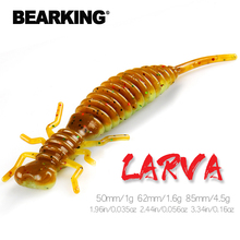 BEARKING Larva, мягкие приманки, 50 мм, 62 мм, 85 мм, искусственные приманки для рыбалки, силиконовые приманки для ловли окуня, блесна для щуки, плавающая приманка, пластиковые приманки, червь