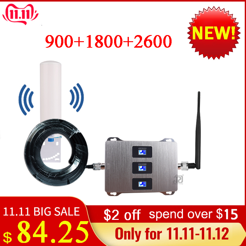 4g Signal Repeater900/1800/2600mhz DCS LTE GSM 2G 3G 4GMobile Signal Booster+Omnidirectional Antenna+Whip Antenna+15m Cable Suit