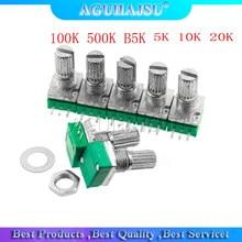 5pcs RK097N 5K 10K 20K 50K 100K 500K B5K with a switch audio 3pin shaft 15mm amplifier sealing potentiometer molewei