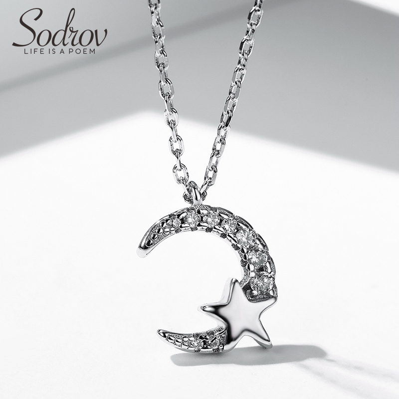 Sodrov Jewelry Necklace 925 Sterling Silver Simple And Romantic Star For Women Link Chain Pendant