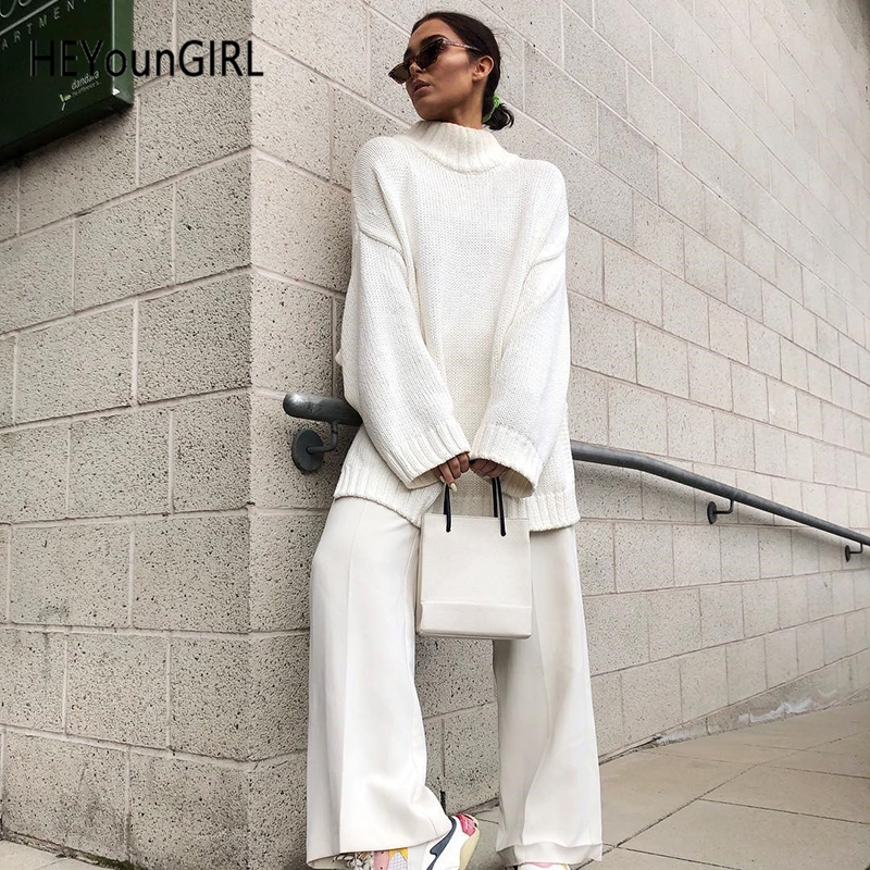 HEYounGIRL White Loose Turtleneck Long Sweaters Split Side White Knit Sweater Women Long Sleeve Casual Knitwear Pullover Winter