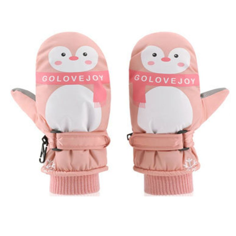Kids Boy Girl Cartoon Penguin Waterproof Gloves Double Layer Ribbed Cuff Adjustable Anti-Slip Winter Ski Windproof Mittens 7-12T