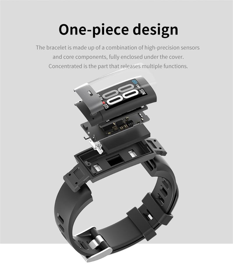 RGTOPONE Creative ECG + PPG bande intelligente tension artérielle moniteur de fréquence cardiaque IP67 montre-bracelet podomètre bracelet sommeil montre intelligente