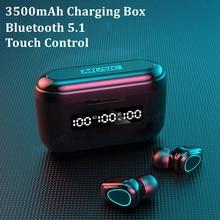 3500mah bluetooth 5.1 fones de ouvido com microfone toque sem fio fones de ouvido 9d esporte impermeável fone de ouvido in-ear construído em cabo usb