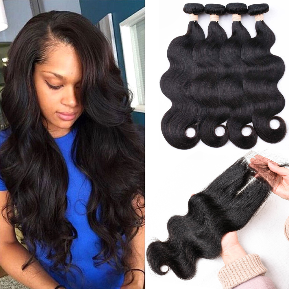 Sapphire Brazilian Body Wave Human Hair 4 Bundles With Closure 4*4 Lace Closure Brazilian Hair Weave Bundles With Closure
