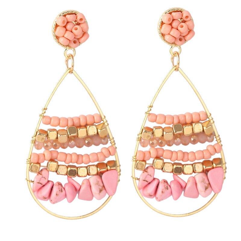 Bohemian Stone Beaded Acrylic Earrings Creative Geometric Hollow Teardrop Dangle Earrings Women Trend Ethnic Jewelry Girl Gift