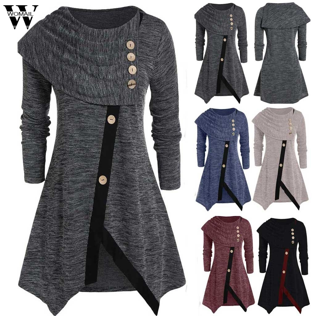 Womail Shirt Women Autumn Winter Long Sleeve Irregular Casual Button Turtleneck Pullover Tunic Tops Blusas Feminina Plus Size