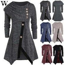 Camisa feminina outono inverno manga longa irregular casual botão gola alta pulôver túnica topos blusas femininas plus size