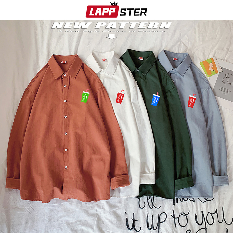 LAPPSTER Mens Casual Cartoon Shirt Long Sleeve 2020 Korean Mens Harajuku Casual Shirts Couple Colorful Kawaii Button Up Shirt