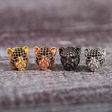 2020 yeni tek parça el yapımı DIY aksesuar parçaları toplu leopar kafa şekli bakır kakma zirkon bilezik takı aksesuar