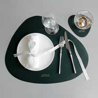 Tableware Pad Placemat PU Leather Table Mat Heat Insulation Non-Slip Placemats Bowl Coaster Kitchen
